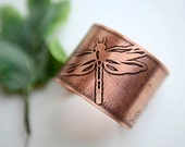dragonfly etched cuff bracelet metal jewelry antique copper statement jewelry wearable art