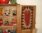 Primitive FolkArt Heart Hooked Wool Wall Hanging Rug Valentine Rug