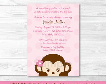 Cute Pink Monkey Baby Shower Invitation / Monkey Baby Shower Invite / Girl Monkey / Baby Girl Shower / INSTANT DOWNLOAD Editable PDF