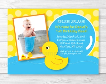 Cute Rubber Duck Birthday Invitation / Rubber Duck Birthday Invite / Rubber Duck Party / 1st Birthday / 2nd Birthday / Any Age / PRINTABLE