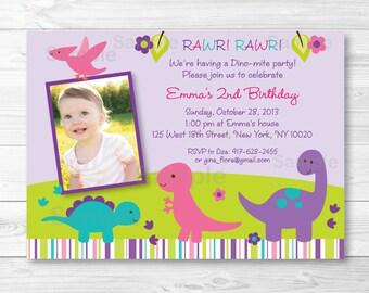 Girl Dinosaur Birthday Invitation / Pink & Purple Dinosaur / PRINTABLE