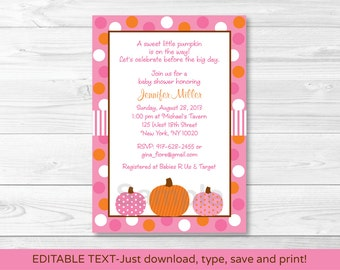Pink Pumpkin Baby Shower Invitation INSTANT DOWNLOAD Editable PDF