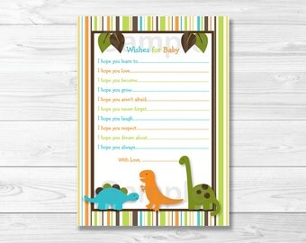 Dinosaur Wishes for Baby Advice Cards INSTANT DOWNLOAD