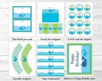 Nautical Whale Birthday Party Package / Whale Birthday Party / INSTANT DOWNLOAD