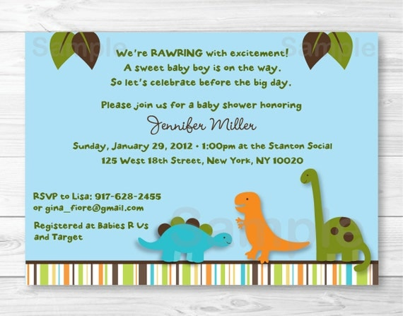 cute dinosaur baby shower invitation / dinosaur baby shower invite, Baby shower