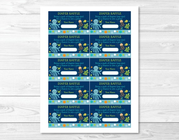 Under The Sea Octopus Turtle Crab Printable Baby Shower Diaper Raffle Tickets
