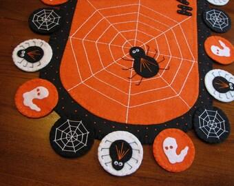 "Hand Stitched 42"" x 18-1/2"" Halloween Wool Felt Table Runner - Primitive-Folk Art-Home Decor-Fiber Art-Spiders-Ghosts-Table mat-Penny Rug"