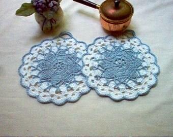 Retro Queen Annes Lace Vintage Style Potholders Crochet Thread Art New Handmade