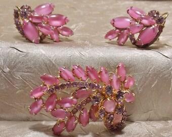 Vintage Pink Givre Rhinestone Brooch Earrings