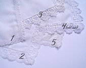 Lace wedding handkerchief, printed handkerchief, personalized hankerchief
