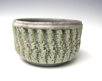 green raku pottery planter succulent planter herb pot raku pottery ceramic cactus planter succulent planter  5 3/4 x 3 1/2 Free Shipping w-3