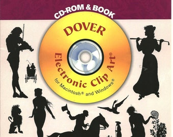 Old Fashioned Silhouettes CD-ROM + Book 446 Royalty-Free Designs Mac Windows New