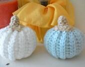 Crochet Pumpkin Gourd Set White and Aqua Beach