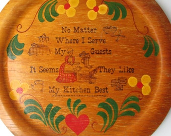 Vintage Woodcraftery Wooden Kitchen Wall Hanging - Cottage style