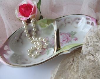 Vintage German Pink Rose Handled Dish - Cottage Chic