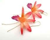 Real Preserved Orchid Flower Earrings, Earrings, Orchid, Chain, Gold, Gemstones,  Coral, Pink,  Bohemian Jewelry, Boho