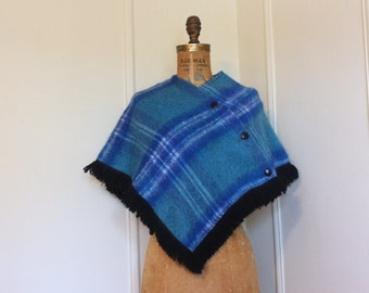 shades of blue, vintage Scottish Tartan Plaid Mohair & Wool Capelet Poncho