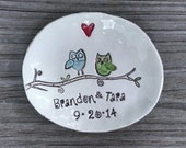 Personalized dish, owl wedding, ring pillow, Wedding gift, engagement gift, jewelry dish ring holder ceremony Ring Bearer