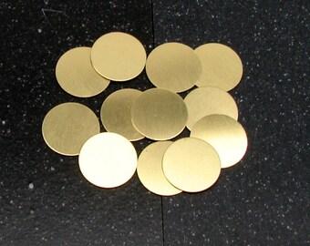 """3/4"""" Brass Disc 24 Gauge  Pack of 12"""