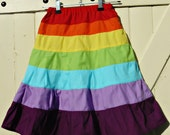 Rainbow twirl skirt, fully lined, cotton fabrics, girls size 4,5,6