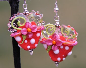 Red N Pink Floral Heart Garden SRA Lampwork DeSIGNeR EaRriNgs So Pretty Perfect for Valentines Day