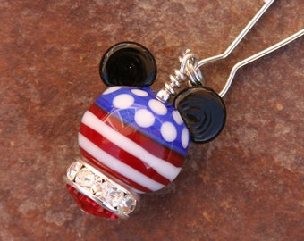 Red White Blue Mickey Mouse Style Magical Zipper Pull or Charm Disney Inspired DeSIGNeR Accessory Patriotic Flag Memorial July 4