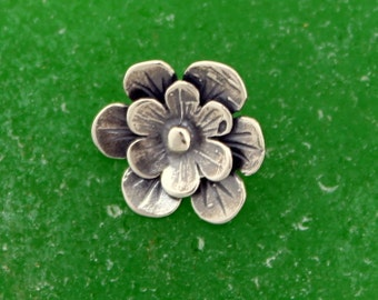 Button Sterling Silver Flower