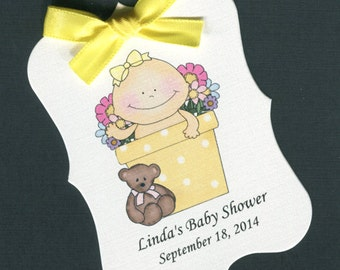 Personalized Baby Shower Favor Tags, baby girl in yellow flower pot, set of 40