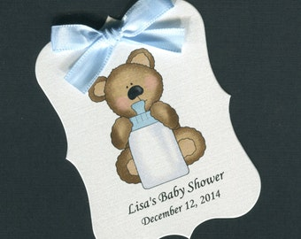 Personalized Baby Shower Favor Tags, teddy bear with blue bottle, set of 40