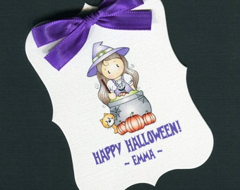 Large Personalized Halloween Favor Tags, girl witch 1, set of 25