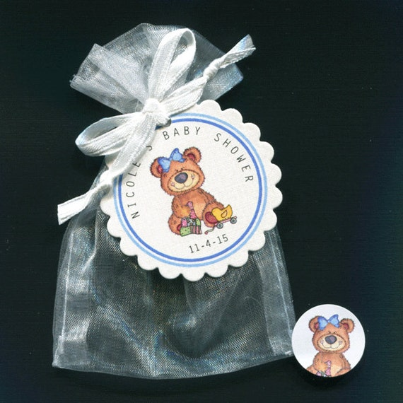 personalized baby girl baby shower favor candy bags teddy bear with