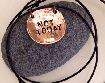 MENS game of Thrones  Necklace ~ Hand Hammered copper jewelry ~ not today ~ old world thrones style