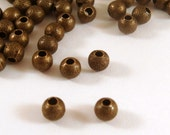 50 Antique Bronze Stardust Beads 4mm Round Brass NF - 50 pc - M7055-AB50