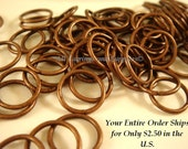 100 - 10mm Copper Jump Rings Antique Plated Iron 18 Gauge NF 10mm Outside - 100 pc - F4003JR-AC10mm - Select Qty