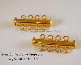 2 Gold Slide Lock Clasp 4 Strand Plated Brass 26x6mm - 2 pc - 5510-14