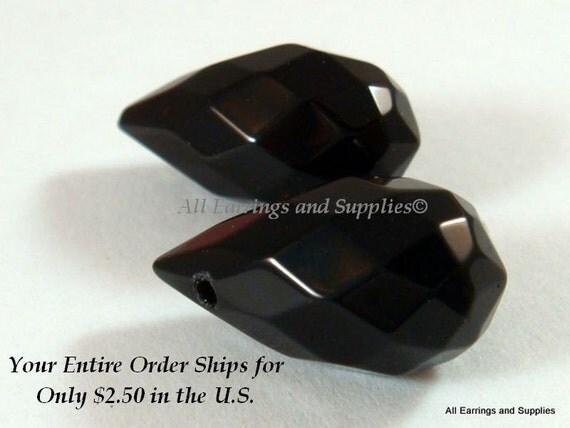 2 Black Crystal Teardrop Bead Jet Faceted 22x11mm - 2 pc - 4888