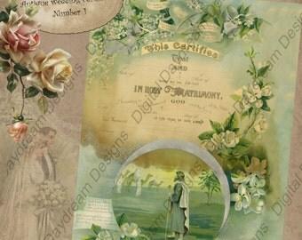 Printable Wedding Certificate Marriage Certificate Instant Download No 1 Vintage Victorian Wedding Digital Download DIY Wedding Shower Gift