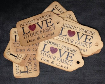 "Adding S'More Love to our Family WITH HEART SMALL 2"" Favor Tag Choose your quantity"