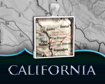 Paso Robles, CA Map Pendant