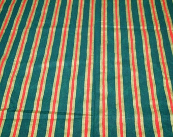 vintage 50s christmas screen print fabric, featuring red, green and gold stripe, 1 yard, 10 inches