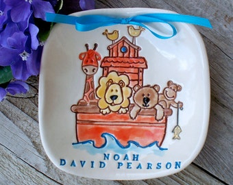 Noah's Ark New Baby Birth Announcement Gift Dish