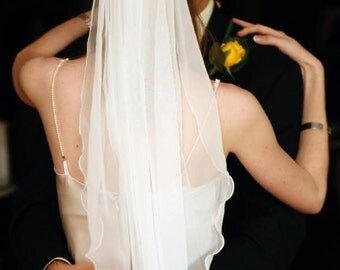"IVORY or White chiffon wedding bridal veil new 32"" - 42"" L. Add scattered beading around outside 5"" of veil for 10.00 more."