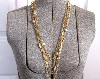 Long retro necklace . Multi Strand Necklace . Pearl and Gold Fashion Necklaces . long pearl necklace