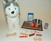 American Girl Doll Dog Accessory Set-treats, food, bone,