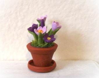 Miniature Crocus Purple and Lavender in Terracotta Colored Pot w Saucer Sculpted in Dollhouse Scale Garden Decor