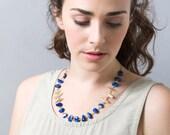SALE 50% OFF Blue Lapis Necklace , Lapis Statement Necklace