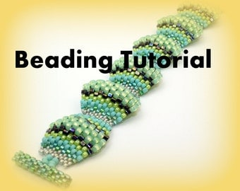 Beading Tutorial, Seed Bead bracelet Pattern Flat Cellini Spiral, Peyote stitch Bracelet tutorial, Instant Download, ENGLISH only