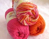 100% cotton yarn, TAFFY COLOR STORY,  bright orange,  bright pink, taffy stripes,  Creme de la Creme yarn