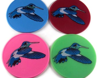 Silicone Hummingbird Drink Coasters, Table Coasters, Office Coasters, Spoon Rest