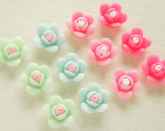 8 pairs (16 pcs) Flower Cabochon (16mm) FL361